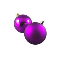 Shiny & Matte Violet Baubles (Pack of 12)