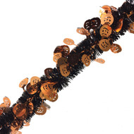 Black and Orange Halloween Tinsel with Pumpkins - 5 metres