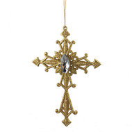 Gold Jewelled Cross Hanging Ornament -