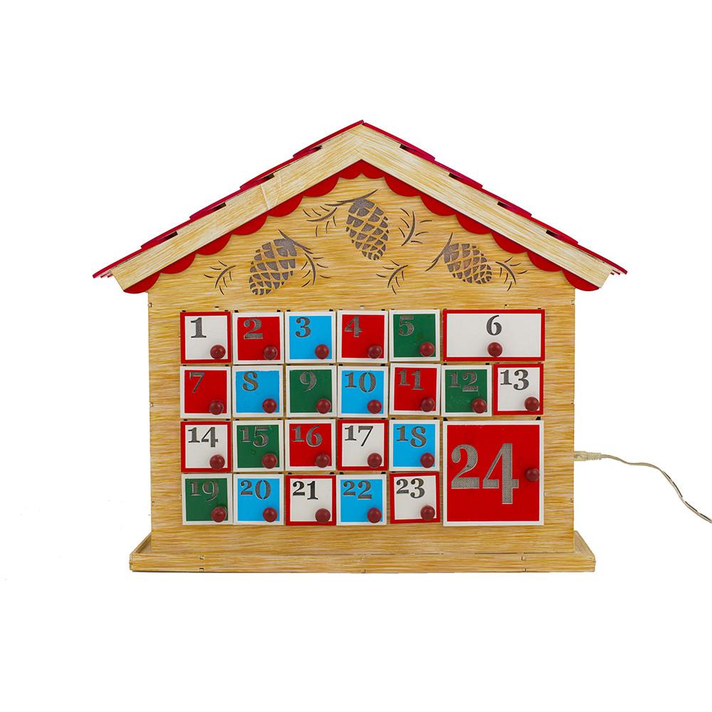 Wooden Advent Calendar With Led Lights 42cm Christmas Elves
