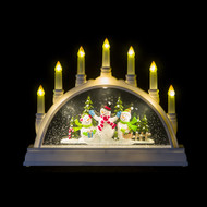 Candle Arch Water Globe with Snowmen - 33cm