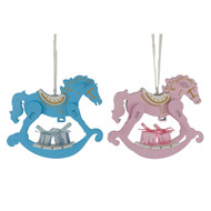 Blue or Pink Rocking Horse Ornament - 13cm