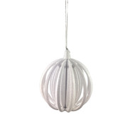 White Layered Ball Hanging Ornament - 11 cm