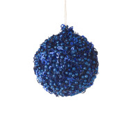 Blue Sequin Ball Ornament - 9cm