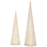 RAZ Snowflake Lighted Cone Tree  (Set of 2)