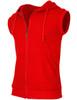 Casual zip hoodie sleeveless hoodie jacket-red side