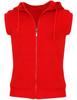 Casual zip hoodie sleeveless hoodie jacket-red front