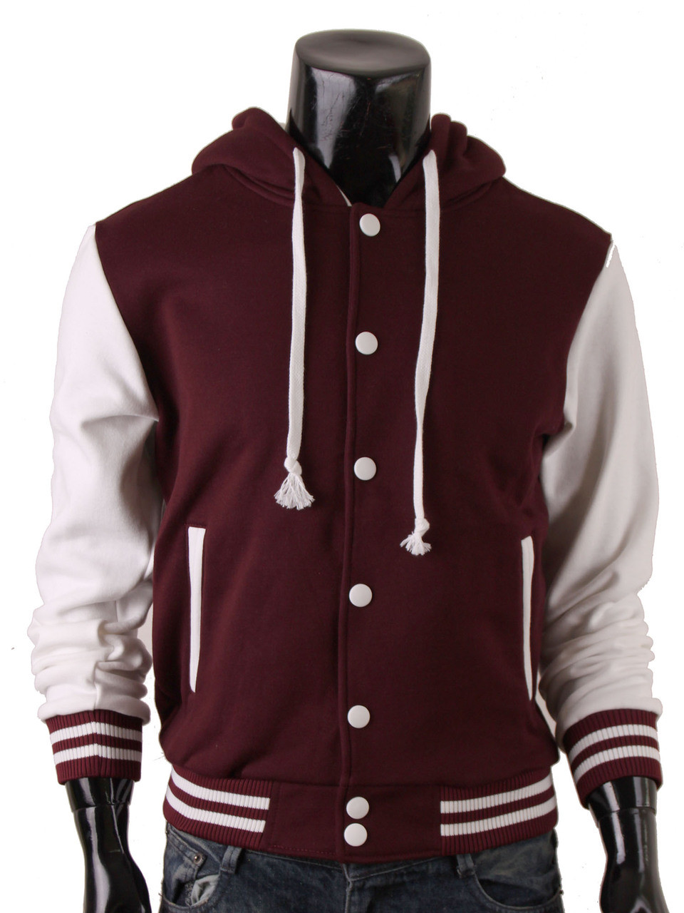 Men's Hoodie Baseball Jacket Sweatshirt Jacket Varsity Letterman ...