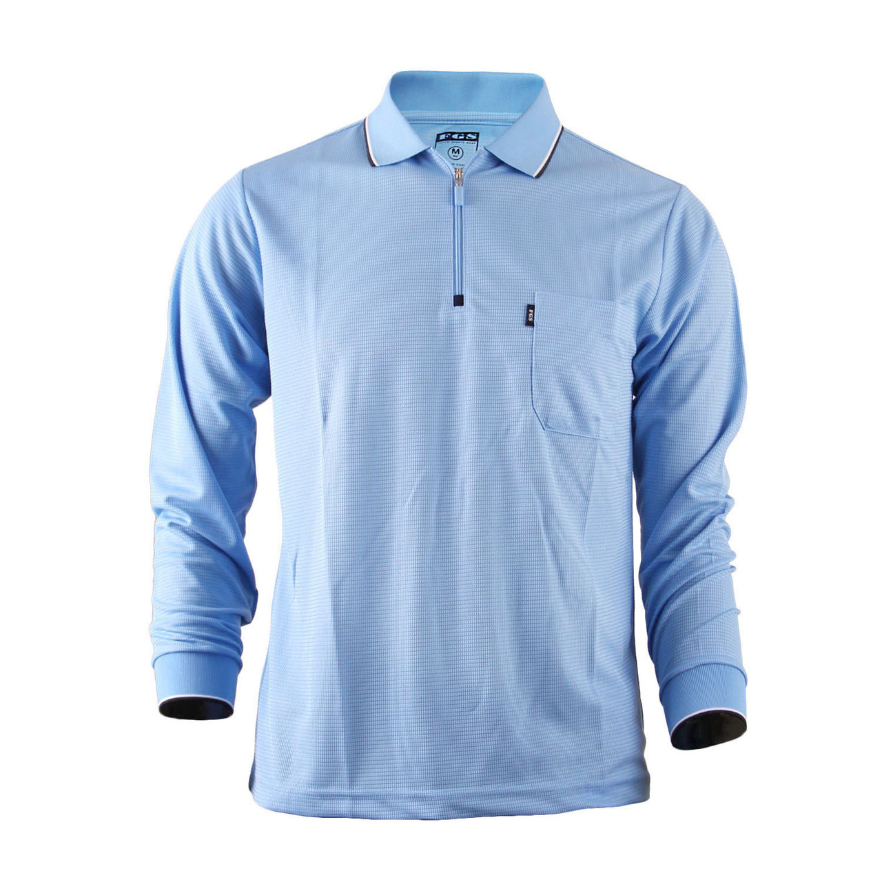 Men 39 s zip polo shirt plain zip polo shirt long sleeves dri for Dri fit collar shirts