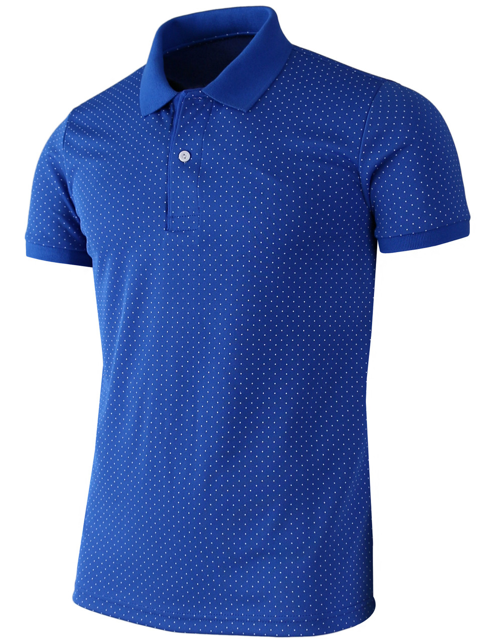 Casual short sleeves dot pattern design polo shirt unisex for Two color shirt design
