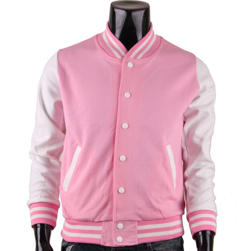 Bcpolo Men's Pink Baseball Jacket Varsity Jacket Letterman Cotton Baseball Jacket