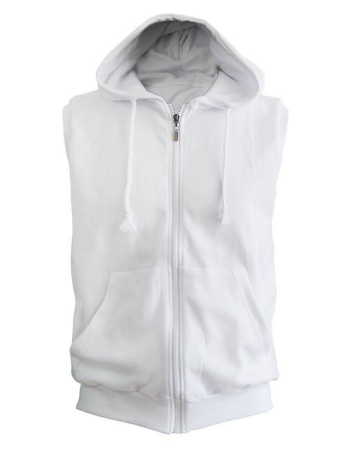 Casual Sleeveless Plain Full-Zipper hoodie jacket_white
