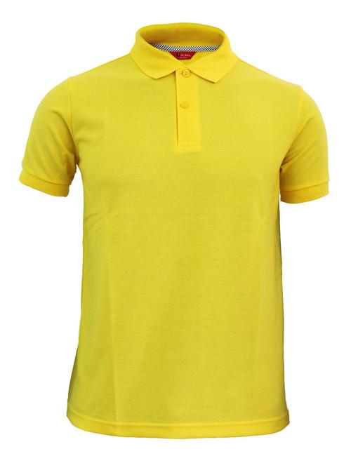 Casual short sleeve polo shirt basic golf wear yellow for Yellow golf polo shirts