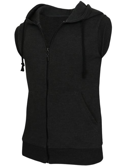 Casual zip hoodie sleeveless hoodie jacket-charcoal side