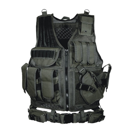 UTG Tactical Vest with Cross Draw Holster Black