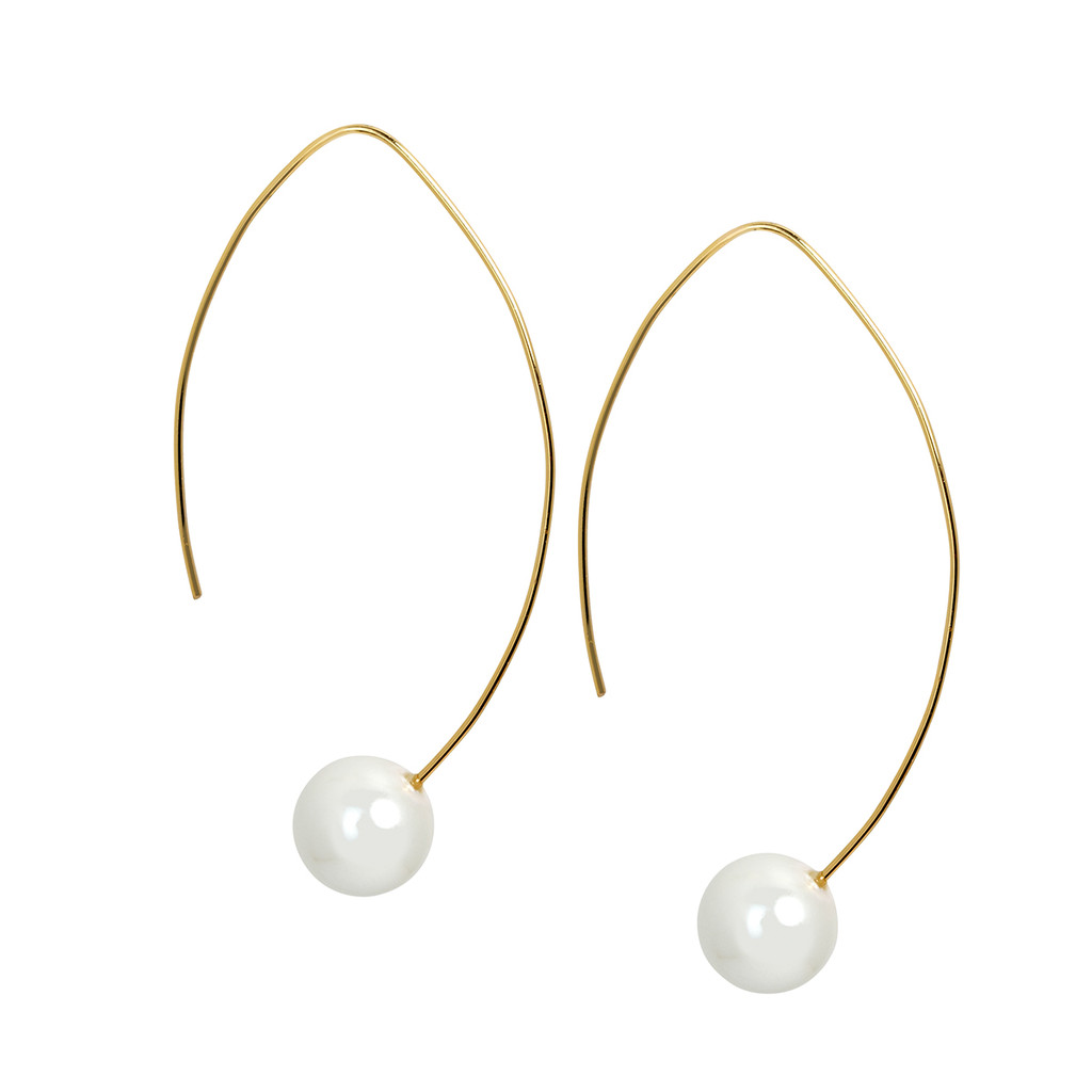 French Pearl Threader Earrings Yellow Gold Plated Click Here To Enlarge