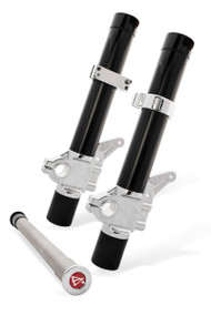 Black on Chrome Leading Axle Fork Legs