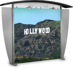 10 foot alumalite modular display with arch canopy featuring image of Hollywood sign in Los Angeles.