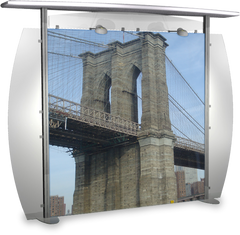 10 foot alumalite modular display with straight canopy featuring image of Brooklyn Bridge.