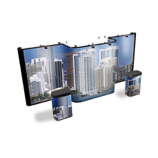 Premium 20' pop up display in straight-straight-straight shape with custom graphics of a large city.