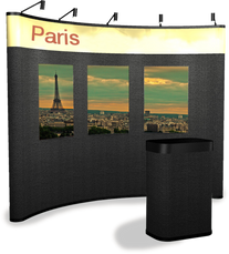 10' hybrid fabric pop up display with graphic panels displaying Paris.
