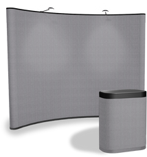 10' concave fabric pop up display in steel gray color with matching fabric case conversion kit