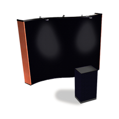 10' fabric pop up display with wave shape and black fabric podium wrap