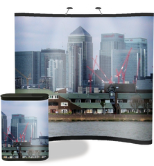 8 ft concave popup with edge to edge Hongkong graphic with matching graphic case conversion kit