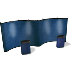 20 foot curve-curve gullwing fabric pop-up display in aegean blue color with matching fabric case conversion kits