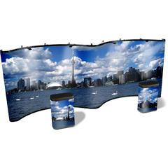 20 foot curve-curve gullwing pop up display with Chicago graphic popup with matching graphic case conversion kits