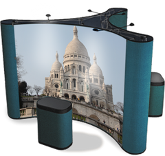 10 foot island pop up display with the Sacre Coeur Church in Paris graphics with fabric case conversion kits