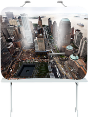 6 foot tension tabletop popup display with edge-to-edge graphics of Ground Zero in New York City.