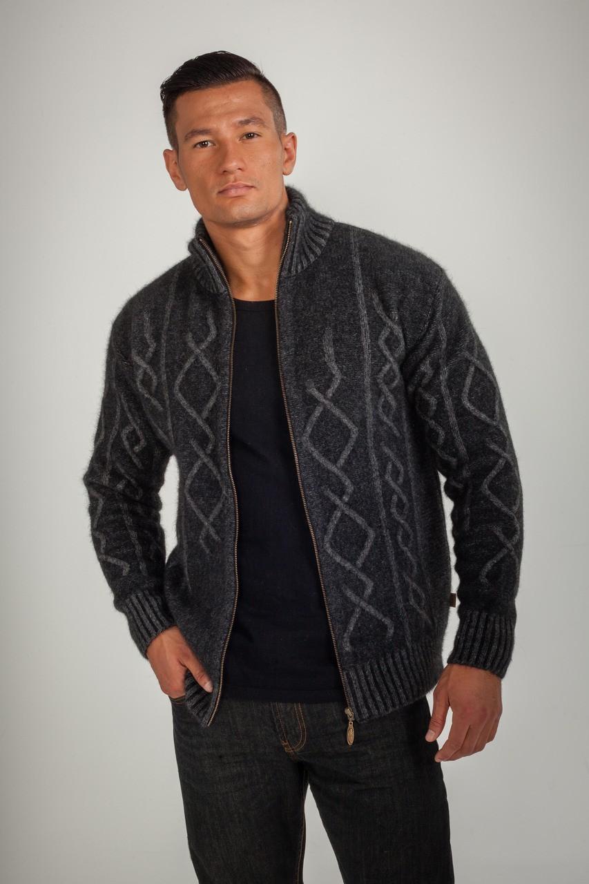 d55ba7e54f3 Koru Plated Cable Zip Jacket - Possum Merino K0813. Grey Black