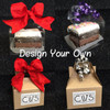 Choose all the details from the type of box, toppings, and ribbons/bows! Here's some examples.