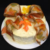 Gold whipped cream frosting w/Fall Leaves ribbon bow.
