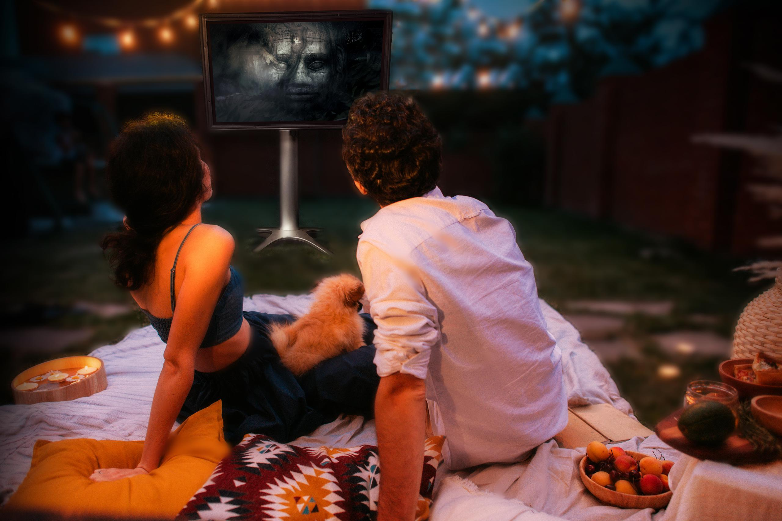 Halloween Movie Night Outside The TV Shield Outdoor TV Cabinet