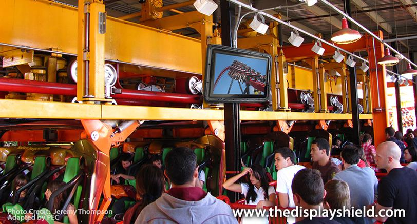 The TV Shield Outdoor TV Enclosure/Cabinet at a theme park