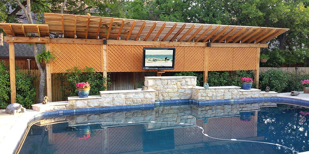 TV Enclosure/Cabinet set up over a pool