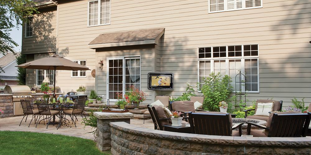 The TV Shield Outdoor Enclosure/Cabinet in a patio bar