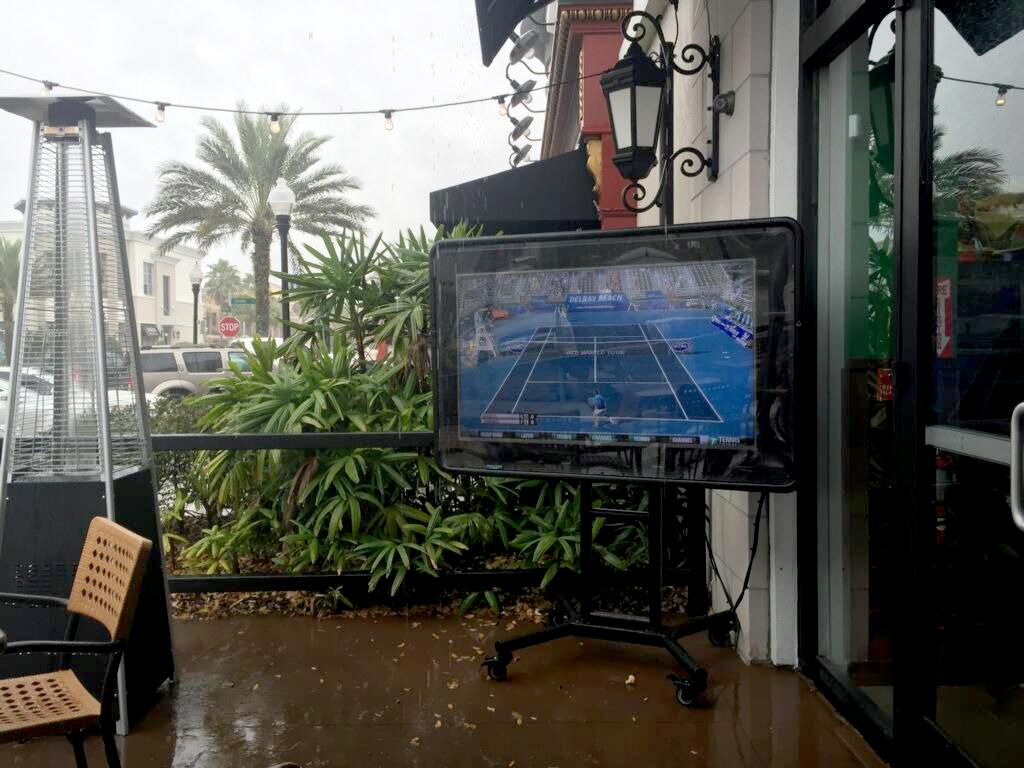 The TV Shield weatherproof tv case at Duffys in Orlando Florida