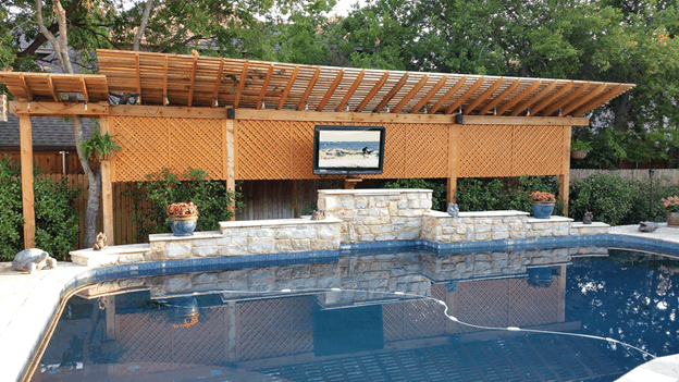 Outdoor TV Cabinet Pole Mounting by Pool