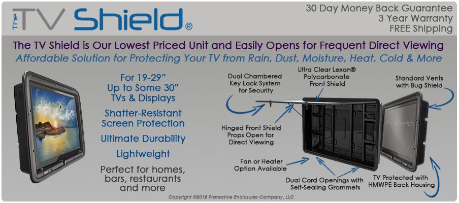 The TV Shield outdoor TV solution, weatherproof tv enclosure