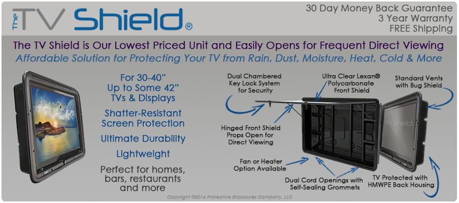 The TV Shield outdoor TV solution, weatherproof tv enclosure