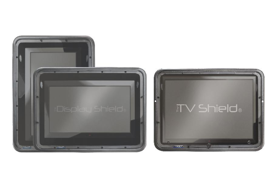 The TV Shield Outdoor TV cabinet and The Display Shield Digital Signage Enclosure