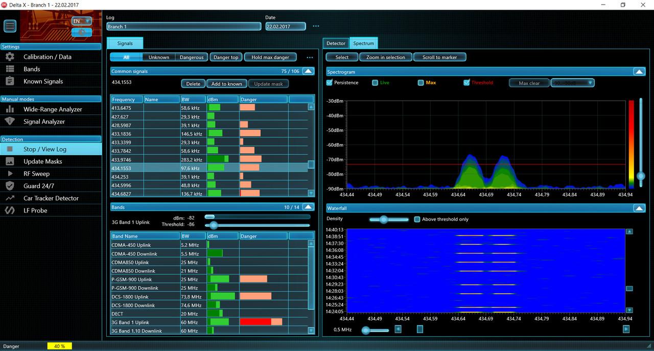 DX2000-6   Delta X2000-6 Spectrum Analyzer software scan analyze multiple frequencies for spying threats, hidden cameras, and hidden bugs