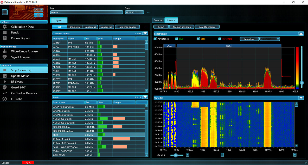 DX100-4   Check multiple bands and frequencies with Delta X 100-4 built in spectrum analyzer