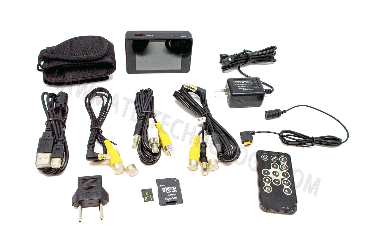 Lawmate PV-500ECO2 New Analog Input Portable DVR shown with all accessories.
