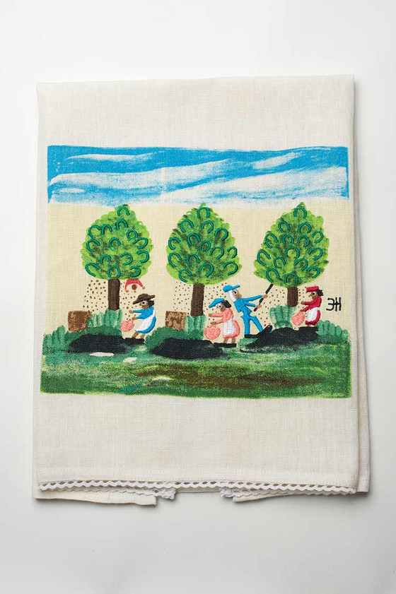 Pecan Picking Linen Tea Towel.