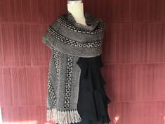 Black & Gray Woven Alpaca Wrap