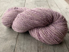 """Lavender Denim"" American Raised and Spun, 50% alpaca/30%merino wool/20% silk, 2 ply fingering weight, 400 yards, 4.4 oz/125 gms."